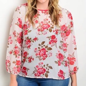 NEW White Pink Floral Lightweight Top Plus Size